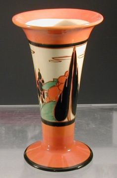 Clarice Cliff Fantasque Orange Trees & House Vase