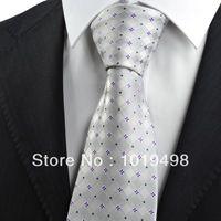 free shipping 50pcs brand new Purple Silver Grey Flora Checked Pattern JACQUARD WOVEN Microfiber Men's Tie Necktie,Width 8.5cm