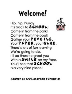 Welcome Back to School Poem or Letter