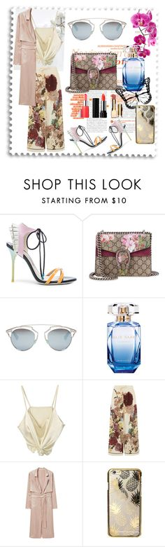 """Day out🌞"" by cretive-zone ❤ liked on Polyvore featuring Sophia Webster, Gucci, Christian Dior, Elie Saab, Valentino, MANGO and Skinnydip"
