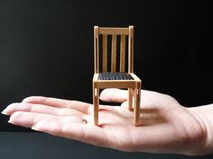 can make a chair, popscicle sticks with curved top, sandwiched, very clever