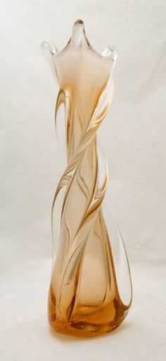Tall Cased Peach Twisted Art Glass Vase
