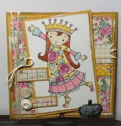 Queen for Life card. MMI paper, promarkers and Whimsy Stars and stamp digital stamp. I made it for myself!