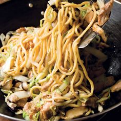 Chicken Lo Mein with Ginger Mushrooms - This recipe is extremely simple to make and has a nice peppery flavor from the red pepper flakes, white pepper, and ginger.