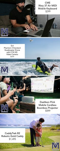 Father's Day Gift Ideas! How are you going to make dad's day? Dads love technology! #cme #music #instruments #dji #drone #dashbonflicks #projector #golf #caddy