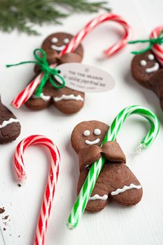 Holiday Recipe: Chocolate Gingerbread Men with Candy Canes - Gingerbread Men with Candy Canes Christmas Cookies for 25 Days of Christmas Cookie Exchange: Christ - Easy Christmas Cookie Recipes, Christmas Cookie Exchange, Christmas Cooking, Christmas Treats, Holiday Recipes, Easy Diy Christmas Gifts, Christmas Time, Christmas Tables, Nordic Christmas