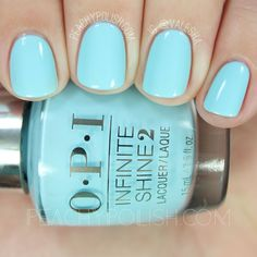 quenalbertini: OPI I Believe In Manicures, Infinite Shine Breakfast at Tiffany's Collection Teal Nail Polish, Teal Nails, Opi Nails, Cute Nails, Pretty Nails, Tiffany Blue Nails, Believe, Breakfast At Tiffanys, Spring Nails