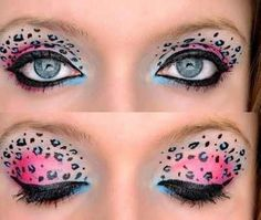 Pink and blue leopard print eye makeup