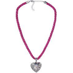 Pinke Kordelkette mit Herzanhänger von Schlick Accessoires