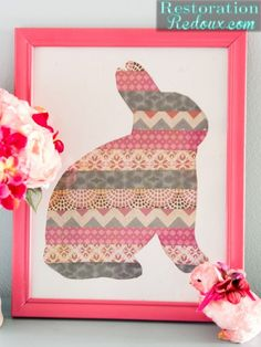 Striped Easter Rabbit Silhouette -Could also use fabric and on a smaller scale do bunny for Easter cards.