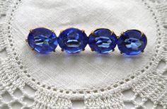 Antique  Czech Glass Bar Pin  Brilliant Blue by JoolsForYou