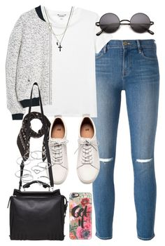 """""""Outfit with a bomber jacket"""" by ferned ❤ liked on Polyvore featuring Frame Denim, Monki, MANGO, Coach, H&M, Casetify, 3.1 Phillip Lim, ASOS, LC Lauren Conrad and women's clothing"""