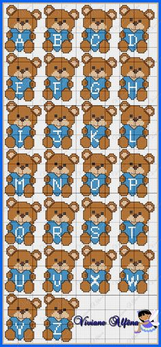 TEDDY BEAR WITH HEART ALPHABET CROSS STITCH OR PERLER BEAD PATTERN