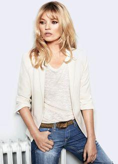 Kate Moss for Mango - cream jacket, cream top, boyfriend jeans