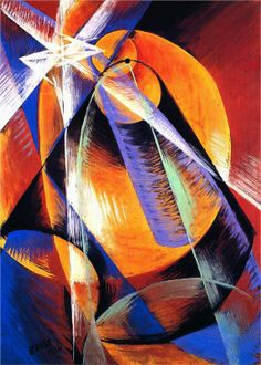 Giacomo Balla - Planet Mercury passing in front of the Sun Futurismo Italian Painters, Italian Artist, Giacomo Balla, Italian Futurism, Futurism Art, Lee Krasner, Modernisme, Art Graphique, Modern Art