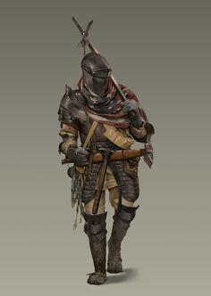 Trench Knight by Trace Thompson on ArtStation. Dark Fantasy, Fantasy Armor, Fantasy Men, Fantasy Character Design, Character Concept, Character Art, Armadura Medieval, Medieval Armor, Medieval Fantasy