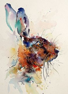 Hare Portrait (watercolor) - by Jake Winkle (would go beautifully with quote from watership down) art,ArT & CRaFT,Watercolor Paintings, Watercolor Animals, Watercolor Paintings, Watercolours, Abstract Animals, Rabbit Art, Bunny Rabbit, Bunny Art, Guache, Art And Illustration