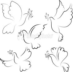 Dove royalty-free dove stock vector art & more images of animal Nursery Patterns, Nursery Prints, Nursery Art, Girl Nursery, Bird Drawings, Easy Drawings, Dove With Olive Branch, Olive Branches, Dove Drawing
