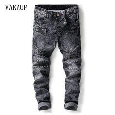 22c970e41d9b2 2018 Meth Spring Winter New Jeans Men Scratched Denim Pant Slim Fit Classic Casual  Jeans Biker