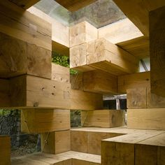 Japanese architect Sou Fujimoto, Final Wooden House made from chunky timber beams.