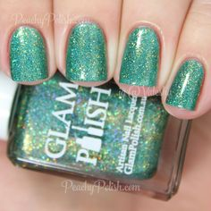 "Glam Polish Somewhere That's Green | Broadway Collection | Peachy Polish ""Somewhere That's Green"" has an emerald green jelly base with matching holographic and metallic microglitter and shimmer and well as some gold microglitter and shimmer.  2 coats."