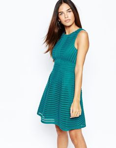 c5983a4cf10f Warehouse Mesh Striped Detailed Skater Dress at asos.com