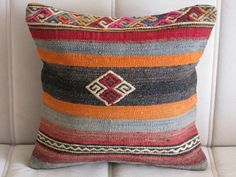 ETHNIC PILLOW,TRIBAL Pillow,Turkish Kilim Pillow Cover,Hand Embroidered Kelim Pillow Cover,40x40cm Pillow Cover,Shabby Style Pillow Cover