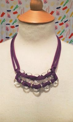 Purple block colour textile yarn and glass figure of eight necklace by bdenglass on Etsy