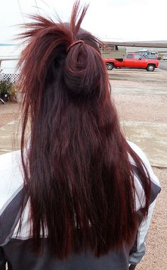 colored red hair w/ garnier nutrisse light intense auburn