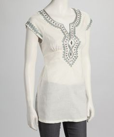 Take a look at this Ecru Embroidered Tunic by Young Threads on #zulily today!