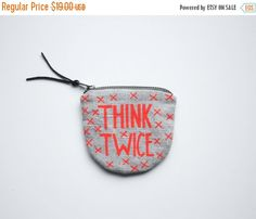 20% OFF SALE/ THINK Twice/ fabric money wallet with hand printed money saving print neon red orange