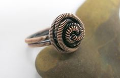 Make this beautiful Rosette coiled wire ring using copper wire and a cordless drill. Works up in a snap!