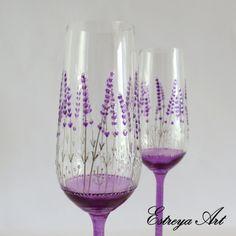 Champagne Glasses Toasting Flutes Champagne by EstreyaArtShop