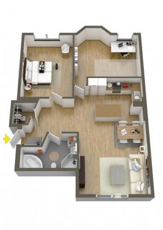 Bedroom Design Floor Plan Inspirational 40 More 2 Bedroom Home Floor Plans 3d House Plans, Home Design Floor Plans, Modern House Plans, Small House Plans, Plan Design, Design Ideas, Small Apartment Design, Apartment Layout, Small Apartments