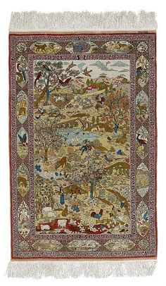 HEREKE SILK Rug .Central field with a depiction of landscape