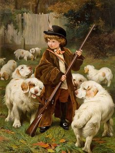 "Charles Burton Barber (1845 – 1894), ""The New Keeper"" - Clumber Spaniels"
