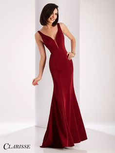 Clarisse Elegant long V-Neck Satin Prom Dress 3153. Fitted, simple evening gown. | Promgirl.net