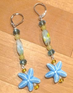 Blue Ceramic Starfish Star Fish Art Glass Yellow Crystal Dangle Drop Earrings Sterling Silver Leverback Lever Back Beach Ocean Resort Cruise by RideTheWindDesigns on Etsy