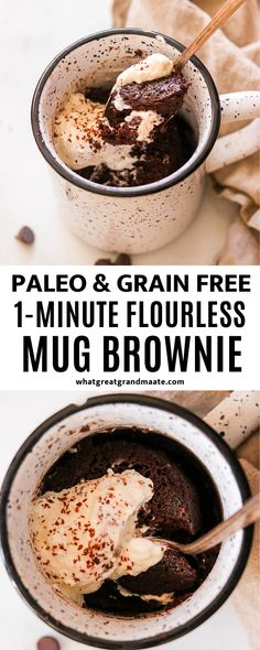 Mug Brownie Recipes, Brownie In A Mug, Mug Recipes, Kitchen Recipes, Easy Recipes, Paleo Sweets, Healthy Dessert Recipes, Real Food Recipes, Paleo Cake Recipes