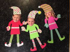 Elf Yourself Christmas craft! Christmas scrapbook paper from Michaels, sparkle pom poms, and jingle bells!
