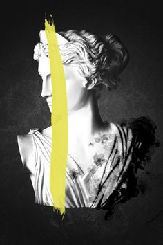 Wouter Rikken's artwork can be described as imaginative and unique. Influenced by everything that surrounds him, each photo tells a unique story with illuminating details. White Bust with black background and yellow paint stroke. Artemis, Desing Inspiration, Vaporwave Art, Paint Strokes, Yellow Painting, Yellow Art, Statue, Renaissance Art, Mellow Yellow