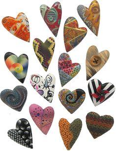 Ron Lehocky's polymer heart pins.  #polymer #heart #RonLehocky