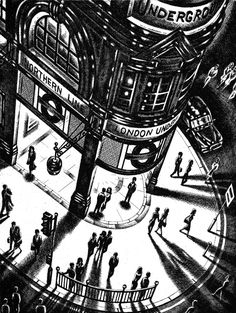 Tube Shadows is a limited edition cityscape etching by John Duffin. The monochromatic colours allow you to focus on the amazing attention to detail that Duffin prints in, meaning there is always something new to see. Mc Bess, Linocut Prints, Art Prints, Block Prints, Copic Drawings, Art Drawings, Gravure Illustration, Foto Gif, Black And White