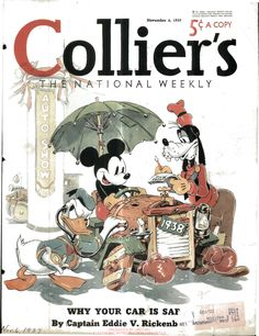 Mickey Mouse, Donald Duck and Goofy on magazine cover of Collier's National Weekly (1937-11-06)
