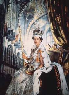 Elizabeth ll age 25 on her coronation day at westminster abbey  in full royal regalia 1953
