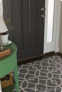 please come in: the foyer Painted Interior Doors, Interior Paint, Transom Windows, Green Table, Plank Walls, Wood Detail, White Doors, Rugs Usa, Diy Projects To Try