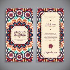 Wedding card or invitation. Vintage decorative elements with mandala. Invitation Card Design, Wedding Invitation Design, Invite, Wedding Card Design, Wedding Cards, Visiting Card Design, Bussiness Card, Vintage Invitations, Envelope Design