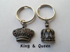 Couple Keychain Set, King and Queen Crown Key Ring Set, Husband and Wife, Girlfriend and Boyfriend, Monogram Initial Option, Valentines Day Gift Idea, card
