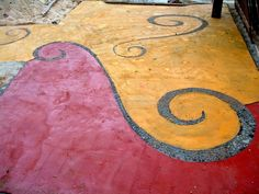 mosaic, paint on concrete Library Design, Flooring Ideas, Concrete, Mosaic, Home And Garden, Backyard, Kids Rugs, Diy Crafts, Crafty