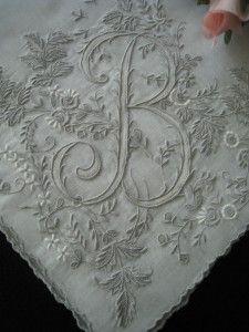 Vintage Linen Hankie B Monogram Appenzell-style